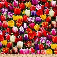 Elizabeth's Studio Digital Garden Tulips Multi 100% cotton fabric by the yard
