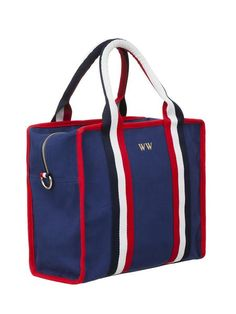 Dark blue spacious handbag Size: One size Hello! Meet our WolfWare dark blue handbag, made from heavy durable cotton, embroidered with the gold WW logo. Reinfor