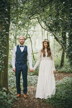 She wears Katya Katya Shehurina, the groom wears Alexander McQueen.  From real wedding feature