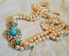 Old Trifari Faux Persian Turquoise Diamond Moghul Clasp 2 Strand Pearl Necklace