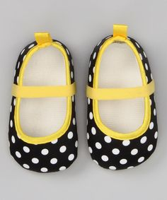 Black & Yellow Polka Dot Flat by Baby Starters on #zulily