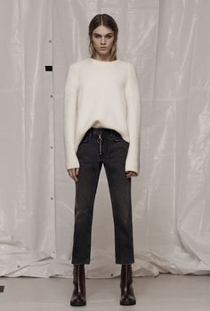AllSaints Women's January Lookbook Look 1: Jago Crew Neck Jumper, Track Boyfriend Jeans, Caleb Boot.
