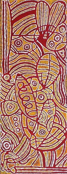 Reva Nungarrayi Dickson / Ngalyipi Jukurrpa (Snake Vine Dreaming - Yanjirlpiri  122 x 46 cm - #aboriginal #art