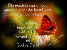 Nog ñ kans. Cute Picture Quotes, Cute Pictures, Goeie More, Afrikaans Quotes, Special Quotes, Good Morning Wishes, My Memory, Bible Quotes, Cool Words