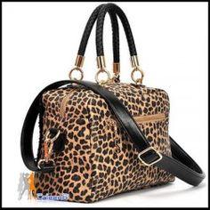 NEW Double-sided Women Faux Leather Shoulders Bag Leopard Handbag Black Sequin