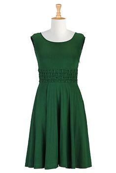 Trellis waist knit dress