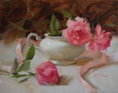 """Saatchi Art Artist Judy Crowe; Painting, """"Roses and Ribbons"""" #art"""