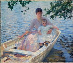 "Happy #MothersDay! #EdmundTarbell painted ""Mother and Daughter in a Boat"" (1892) using his wife Emeline and daughter Josephine as models. The overhanging branches and high viewpoint, aspects borrowed from Japanese prints, provide an intimate view of these figures in a boat, a popular motif for both French and American Impressionists. We hope your day is as pleasant as theirs! #HeartArt"