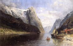 Anders Monsen Askevold - Fishing Boats on a Fjord Fishing Boats, Cool Landscapes, 19th Century, A4 Poster, Poster Prints, Explore, Mountains, Vintage Artwork, Royal Mail