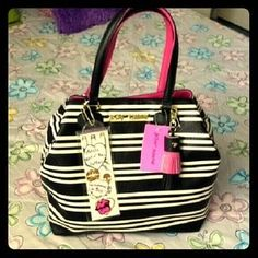 """I just discovered this while shopping on Poshmark: ON SALE 2 way Betsey Johnson Stripe Tote Bag. Check it out! Price: $63 Size: 13"""" x 13"""" x 8"""" Inches (WxHxD, listed by amateurangel"""