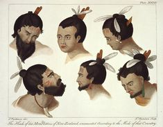 The heads of six men, natives of New Zealand, ornamented according to the mode of that Country. Plate From the book: A journal of a voyage to the South Seas, in his Majesty's ship the Endeavour Bad Beards, Polynesian People, Cultural Beliefs, The Endeavour, Shave My Head, Maori Designs, Maori Art, South Seas, Travel