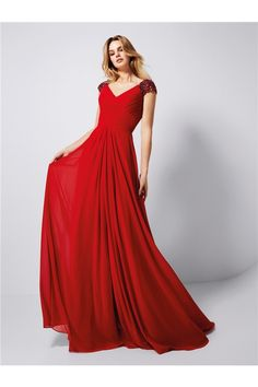 A Line V Neck Cap Sleeve Long Red Chiffon Prom Dress With Buttons