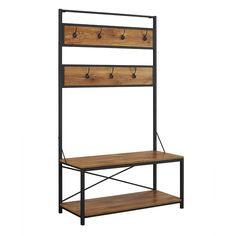 Boasting cutting-edge contemporary style, the Industrial Metal Wood Hall Tree by Forest Gate provides a chic place for you and your guests to hang their coats. This hall tree features 7 hat and coat hooks, as well as a lower shelf for extra storage. Entryway Hall Tree, Hall Tree Bench, Entry Bench, Hall Trees, Entry Coat Rack Bench, Rustic Entryway, Entry Wall, Entryway Ideas, Barn Wood