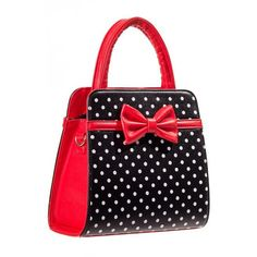 Carla Polka Dot Bow Retro Handbag by Banned Apparel in Red Black ($42) ❤ liked on Polyvore featuring bags, handbags, retro bags, retro purses, polka dot bag, red purse and red bag