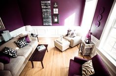 Gorgeous purple living room, accents of cream, white and black...all it needs is a little gold!