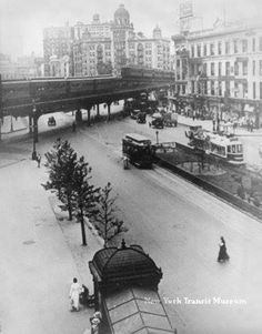 Broadway at 66th, 1912. Elevated trains, street cars, and subways all in one.