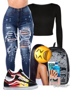 baddie outfits with vans Swag Outfits For Girls, Cute Outfits For School, Cute Swag Outfits, Teenager Outfits, Dope Outfits, Teen Fashion Outfits, Look Fashion, Trendy Outfits, Girl Outfits