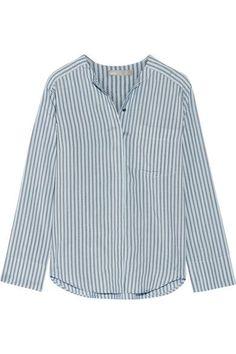 Vince - Striped Silk Shirt - Blue - large