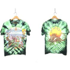 Green Rainforest T Shirt Oversized Tie Dyed Jungle Safari Animal Tee... ($25) ❤ liked on Polyvore featuring tops, t-shirts, white tee, cotton t shirts, green top, white cotton tops and white cotton t shirts