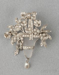 Art Deco Platinum, Rock Crystal, Diamond, and Pearl Pendant/Brooch