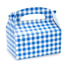 Blue Gingham Empty Favor Boxes, Size: One size, Multicolor Gingham Party, Blue Gingham, Blue Birthday, 4th Birthday Parties, Birthday Ideas, Fourth Birthday, Happy Birthday, Buffet, Little Blue Trucks