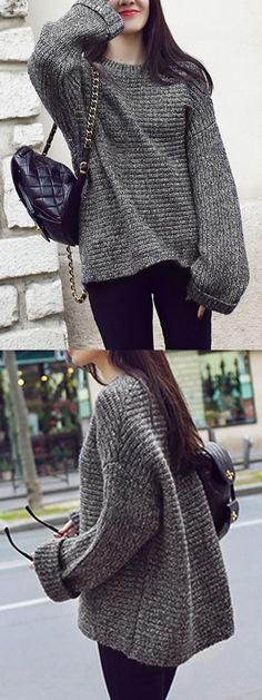 Dark Gray Long Sleeve Loose Cable Sweater
