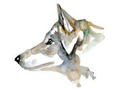 Original Wolf Portrait. Wolf watercolor painting. Animal Painting. 7 x 9.5 inches Zen Watercolor Painting. Wolf art by Michelle Dujardin.