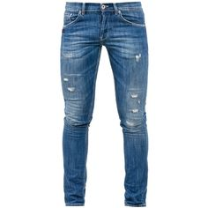 Dondup Blue Denim Ritchie Jeans ($205) ❤ liked on Polyvore featuring men's fashion, men's clothing, men's jeans, men, mens torn jeans, mens destroyed jeans, mens slim jeans, mens blue jeans and mens distressed jeans