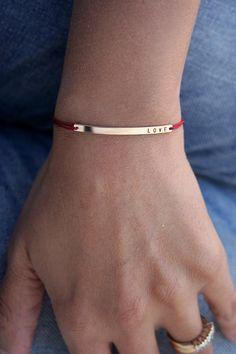 Skinny bar LOVE bracelet with red silk cord,  Slim gold bar initial bracelet by  LUCA jewelry