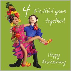 4th Wedding Anniversary Card Happy Anniversary Pinterest