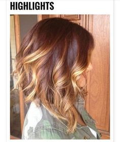 Auburn with blonde highlights - I like this cut and color!