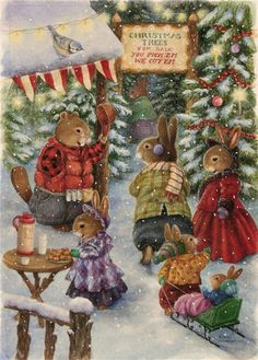 Adorable Susan Wheeler Christmas image with beavers.