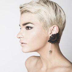 Boucle d'oreille dentelle - spike oreille - noir et argent (boucle unique)