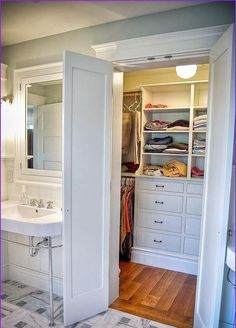 44 Casual Walk In Closet Ideas. You are lucky enough to have a walk-in closet in your home. It is because this type of closet is a lavish yet practical solution to cramped and cluttered closet and to . Bedroom Closet Doors, Master Bedroom Bathroom, Master Bedroom Closet, Bathroom Closet, Bedroom Wardrobe, White Bedroom, Walk In Wardrobe Design, Built In Dresser, Bathroom Floor Tiles