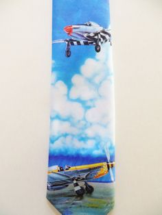 Vintage Ralph Marlin Necktie, 1989 p 51 Mustang Airplanes, Topflight Products, Novelty Necktie, Casual Friday, Gift for Him, Pilot Necktie by TomCatBazaar on Etsy