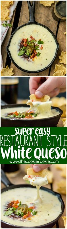 Easy Restaurant Style WHITE QUESO is our FAVORITE DIP RECIPE EVER. Tastes just…