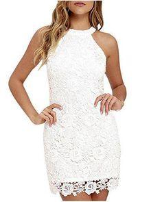 Oferta: 12.89€. Comprar Ofertas de Mujeres Vestido Encaje Bodycon Corto sin Mangas Casual Slim Falda Para Fiesta Mini Vestido Blanco M barato. ¡Mira las ofertas!
