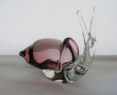 OUTSTANDING Signed MORETTI FRANCO Large MURANO Glass SNAIL Sculpture PAPERWEIGHT
