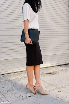 Nude mules heels with black skirt and simple T