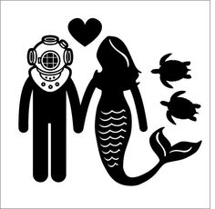 Diver Mermaid Couple Love Mark V Siren Dive by HaywireDesign