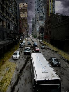 """Stunning Post-Apocalypse Illustrations Their world was ending.but """"the other's"""" world was just beginning. Apocalypse Landscape, Apocalypse Art, Apocalypse Survival, Cyberpunk, Dystopian Art, Post Apocalyptic Art, Ruined City, Science Fiction Art, Zombie Apocalypse"""