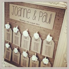 Seating chart - Burlap stretched in the frame, and could use oversized safety pins, or clothes pins to hold the lists on.