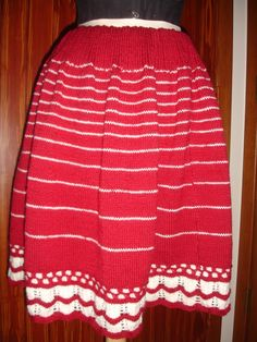 Modern reproduction of 1864 Godey's knitted petticoat, by Kathleen Yorkonis.