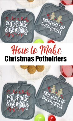 How to Make Christmas Potholders with a Cricut MachineWant a quick and easy Christmas gift idea? Make Christmas potholders! Add them to a gift basket and you have a cute gift idea that everyone will Cricut Christmas Ideas, Simple Christmas, Christmas Projects, Diy Gift Ideas For Christmas, Inexpensive Christmas Gifts, Christmas Videos, Christmas Vinyl, Christmas Gift Baskets, Holiday Crafts