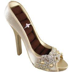 Jacki Design Gold Dazzling Gems Peep Toe Ring Holder ($8.99) ❤ liked on Polyvore
