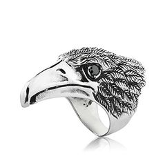 Men's Vintage Gothic Tribal Biker Hawk Eagle Skull Stainless Steel Ring Band Silver Black (11) -- Awesome products selected by Anna Churchill