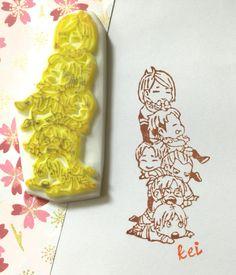 KIDS JENGA-Hand Carved Rubber Stamp Carving Stamp par KeiWorkshop
