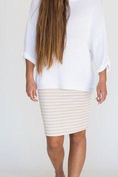 Agnes & Dora - Pencil Skirt Tan And White Stripes