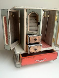 The Emporiums LOVEliest Jewelry Box is hand-painted with matte mint, cream-white trim and a bright red door...distressed and carefully crafted