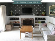 Time to show you all of the updates we've made to the family room. It's long overdue, there have been a whole lot of changes. First things first, we painted! Or I should say the Mr painted 😉 We went with Benjamin Moore's Amherst Gray and had it color-matched at Lowe's using their no-voc Valspar …